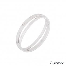 Cartier White Gold Half Diamond Love Bracelet Size 16 N6709516